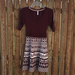 Burgundy aztec sweater dress